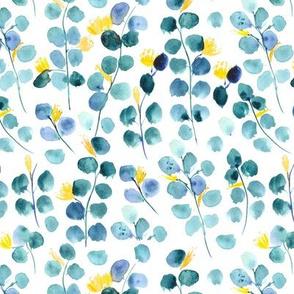 blooming dollar eucalyptus - watercolor leaves p293