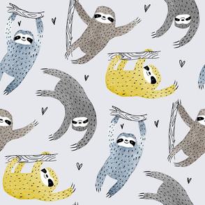 sloth pattern yellow version grey background