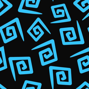 1980's Black and Turquoise Geometric Swirls