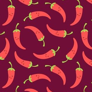Happy Chili Peppers on Dark Red