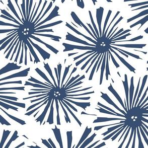 Cactus Blooms Kensington Blue on White