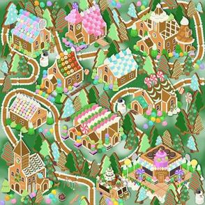 Gingerbread Village Dk Green
