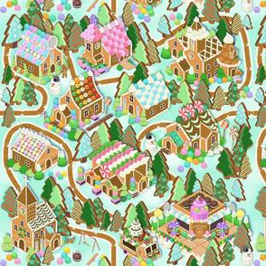Gingerbread Village Lt Blue