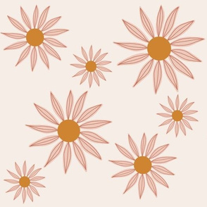 retro scattered floral on cream