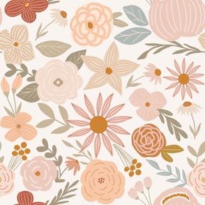 terra firma earth tone florals on cream