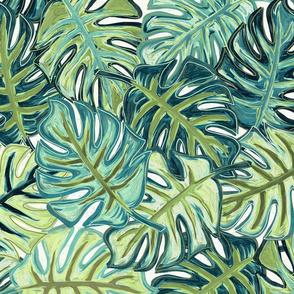 tropical leaves - greens