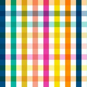 Birchdale Gingham || rainbow plaid living coral orange summer spring stripes transparent check checkerboard