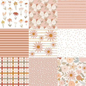 terra firma blush floral cheater quilt - stripes