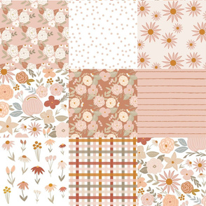 terra firma pink and taupe floral cheater quilt