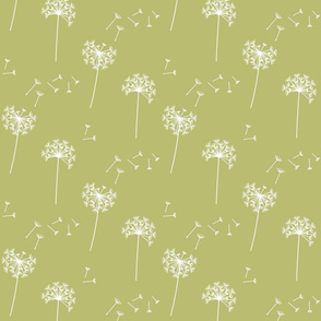 dandelions {1 smaller} green banana reversed earthy tones 25% smaller scale