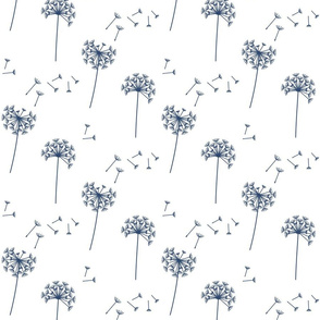 dandelions {1 smaller} sail blue earthy tones 25% smaller scale