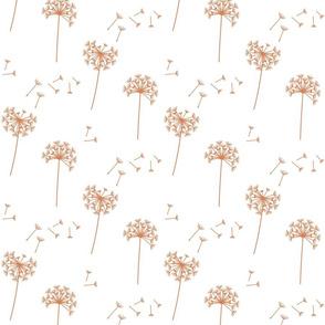 dandelions {1 smaller} terracotta earthy tones 25% smaller scale