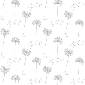dandelions {1 smaller} grey and white 25% smaller scale