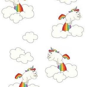 White Unicorns in White Sky