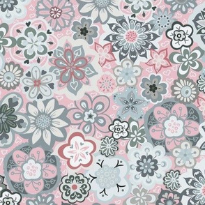 Beautiful Bouquet of Blooms-Light Grey and Pink-Smaller