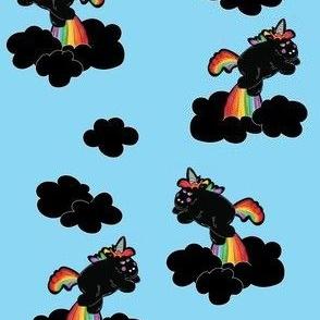 Black Unicorns in Blue Sky