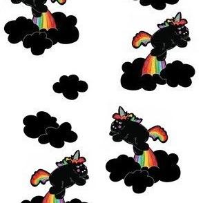 Black Unicorns in White Sky