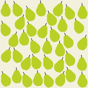 Green Pear Print on Beige Background
