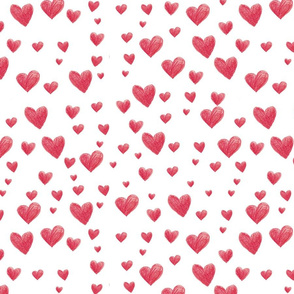 20052020 - Seamless pattern with hand-drawn red hearts