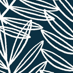 Coastal Palm Fronds in Nautical Navy Blue and White
