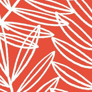 Coastal Palm Fronds in Nautical Red and White