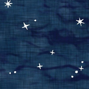 Shibori Stars on Dark Indigo (xl scale) | Night sky fabric, block printed stars on linen pattern, arashi shibori linen.