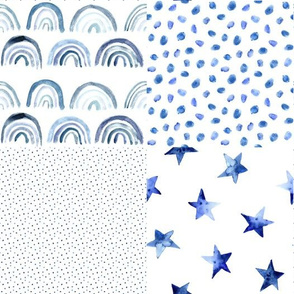 Blue watercolor patchwork: rainbows, stars, spots for modern nursery