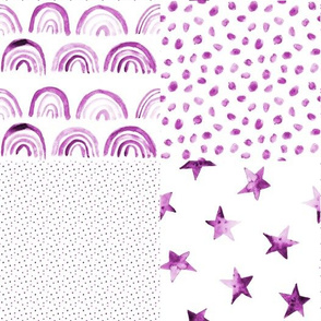 Plum Watercolor rainbows and stars patchwork 295