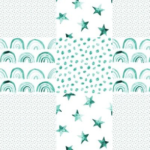emerald watercolor quilt - patchwork for nursery - rainbows, stars, stains p295