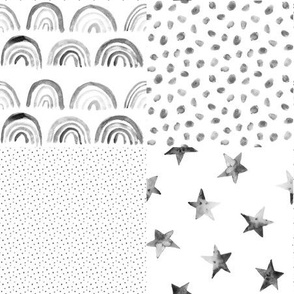 Silver grey watercolor neutral rainbows and stars patchwork for modern nursery 295