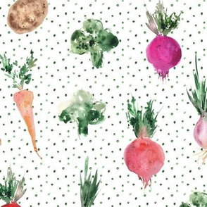 veggies from grandmother's garden - watercolor vegetables 294