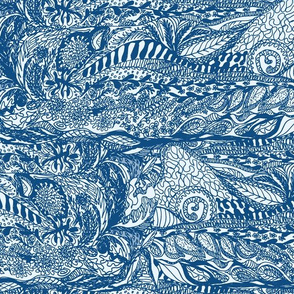 Organic Landscape of Classic Blue on Ice Blue - Large Scale