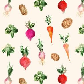 veggies from grandmother's garden on cream  - watercolor vegetables p294