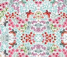 midsummer flowers and butterflies