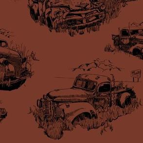 Toile of Vintage Trucks Rust