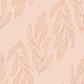 Pink Beige Line Art Leaves
