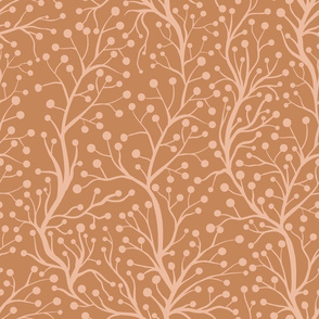 Abstract Branches Line Art Vector on Brown
