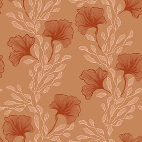 Line Art Abstract Floral on Brown