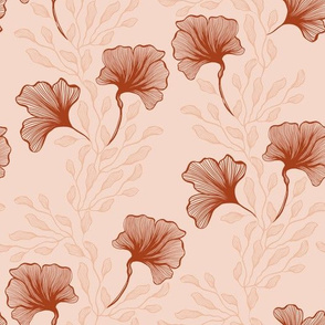 Line Art Abstract Floral on Beige