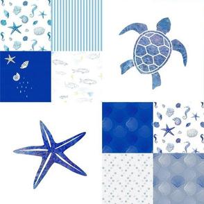 Hawaii sea turtle starfish reef patchwork aqua and ultramarine