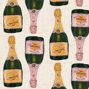 yellow and rose champagne bottles - half drop repeat
