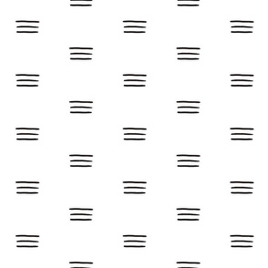 Mudcloth Simple: Black and White Triple Lines