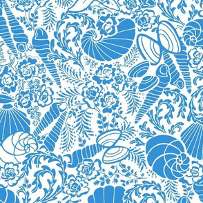 shells and mussels by the beach in teal reverse