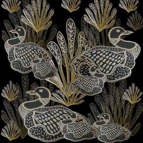 Art Deco Style Common  Canadian Loons With Silver & Gold Embellishment