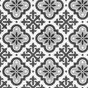 Moroccan Mosaique Black White Grey tiles distressed stone texture