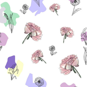 Seamless pattern with graphic flowers and watercolor peony