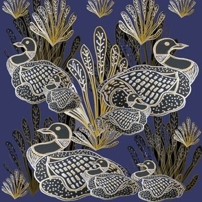 Art Deco/Nouveau Canadian Loons With Gold & Silver Embellishment - On Navy Blue