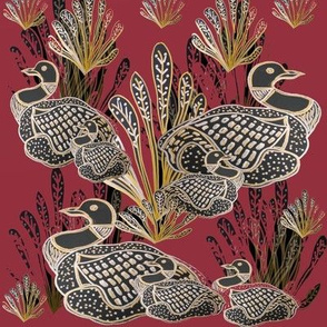 Art Deco Common Canadian Loons With Gold & Silver Detail On Burgundy