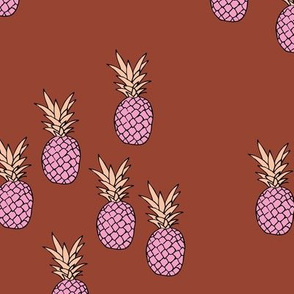 Pineapple garden irregular pineapples fruit for summer neutral stone red maroon pink