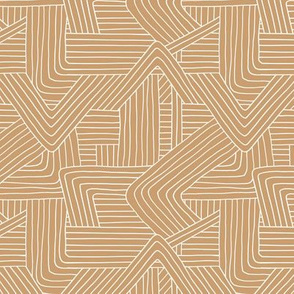 Little Maze stripes minimal Scandinavian grid style trend abstract geometric print cinnamon ginger brown SMALL